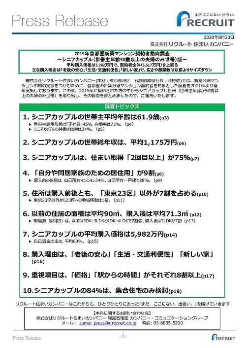 2019年首都圏新築マンション契約者動向調査